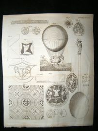 Ballooning etc 1785 Antique Print